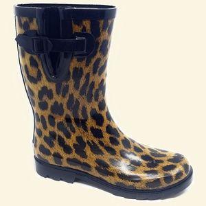 Women Mid Calf Rubber Rain Boots, #5406, Leopard
